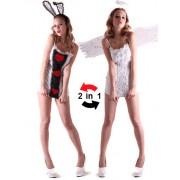 Vegaoo Kanin eller ängel - Kort 2-in-1 klänning för vuxna till festen Medium (40)