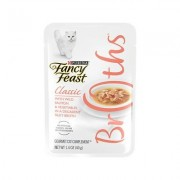 Fancy Feast Classic Broths with Wild Salmon & Vegetables Supplemental Cat Food Pouches, 1.4-oz pouch, case of 16