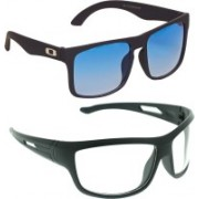 Vast Wayfarer, Wrap-around, Rectangular, Sports Sunglasses(Blue, Clear)