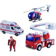 Emob Pretend Play Fire Rescue Station Play set Toy for Kids with Light and Sound Effects (Mutlicolor)