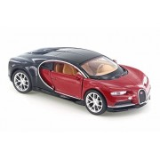 """Bugatti Chiron, Red w/ Black - Welly 43738D - 4.5"""" Diecast Model Toy Car (Brand New but NO BOX)"""