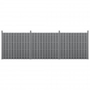 [neu.holz]® Kerítés WPC kerítés elem kerítéspanel 11 léccel 185 cm x 562 cm szürke