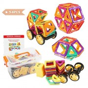 FUNTOK Magnetic Building Blocks 54 Pcs Magnet Set Children Early Educational Toy Toys Puzzle Games for Preschool Kids Boys and Girls