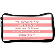 Snoogg Happy Girls Are the Prettiest Girls Poly Canvas Student Pen Pencil Case Coin Purse Utility Pouch Cosmetic Makeup Bag