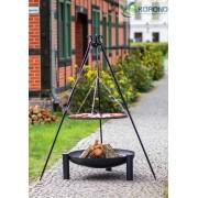 BBQ Schwenkgrill, mit Stahlrost 70 cm, Feuerschale 80 cm, und Dreibein Stativ 180 cm Hoch