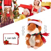 Talking Hamster Doll Toys,Aolvo Mimicry Pet Repeats What You Say Audio Voice Recorder Player Recording Device Recordable Christmas Doll for Children Toddlers