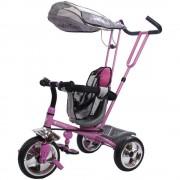 Tricicleta Super Trike 4 in 1 cu bara de protectie,control parental, centura de siguranta - Sun Baby - Roz