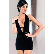 Marika crna mini haljina sa dubokim dekolteom SLC0153116