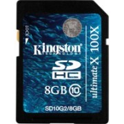 Kingston ULTIMATE X 8 GB SDHC Class 10 22 MB/s Memory Card