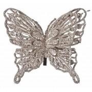 Bellatio Decorations Kerst decoratie vlinder champagne 13 x 11 cm