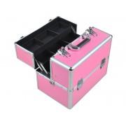 Cutie make-up speciala pentru transportul sau depozitarea produselor cosmetice, culoare Roz