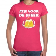 Bellatio Decorations Atje voor de sfeer fun t-shirt roze voor dames XS - Feestshirts