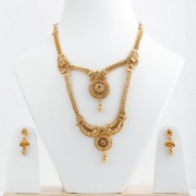 Silver Shine Exclusive Gold Plated Traditional Two Layer And Three Line Chain Yellow Stone Studded Round Long Necklace Set Jewellery For Women And Girls
