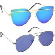 Poloport Aviator, Butterfly Sunglasses(Golden, Blue)