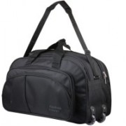 Fashion Creator (Expandable) Polyester Waterproof Lightweight 55L Luggage Black Travel Duffel Bag with 2 Wheels Travel Duffel Bag(Black)