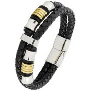 Dual Two Tone High Quality Braided 100 Genuine Leather 316L Stainless Steel Wrist Band Bracelet Men