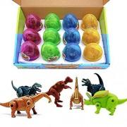Johouse Eggs Dinosaur Toys, Deformation T-Rex Parasaurolophus Brachiosaurus Triceratops Magic Egg Hatch Dinosaurs Toy for Kids, 4 Colors, 12 Pcs