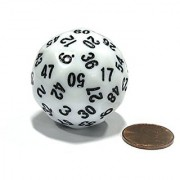 Sixty-Sided D60 35mm Large Gaming Dice - White with Black Numbers by Koplow Games