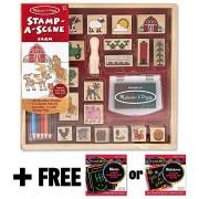 Farm: Stamp-a-Scene Wooden Stamp Set + FREE Melissa & Doug Scratch Art Mini-Pad Bundle [85922]