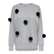 ONLY Pompon Sweatshirt Dames Grijs / Female / Grijs / S