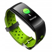 LCD Screen Heart Rate Health Monitoring Bluetooth Smart Bracelet with Silicone Strap - Green