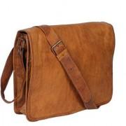 100 Genuine Leather Bag Messenger Bag Leather office school college laptop shoulder bag Real brown briefcase leather Cross-body Bag for Men/Women/Boys/Girls ZNT LEATHERS