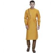 RG Designers Yellow Cotton Blended Self Designed Kurta Pyjama Set for Men