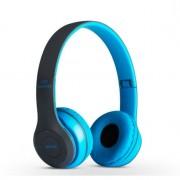 Bluetooth fejhallgató mikrofonal ,rádio fm és SD kártya ,P47 kék