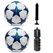 Kit of Bluestar UEFA Champions League Football (Size-5) - Pack of 2 Balls with Air Pump & Sipper