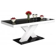 Salontafel Xenon mini 120 cm breed - Hoogglans zwart met wit