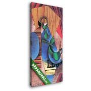 Juan Gris: Pohár, csésze és újságpapír (20x35 cm, Vászonkép )