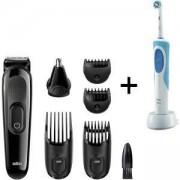 Комплект Тример за лице и коса 6 в 1 Braun MGK3020 + Електрическа четка за зъби Oral-B D12.513
