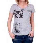 Сива тениска с ефектен гръб