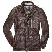 Black-Cafe London Classic Chaqueta de cuero moto Marrón 52