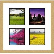 Frames by Mail multimat-58722-aam0114 Marco de Collage con Cuatro Aberturas cuadradas para Fotos de 3.5 x 5 Pulgadas, Dorado