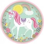 Unikornis papírtányér 8db-os 22,9 cm
