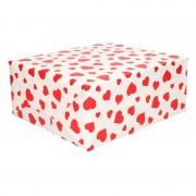 Shoppartners Inpakpapier/cadeaupapier wit met rode hartjes 200 x 70 cm op rol