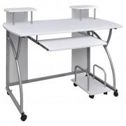 vidaXL Мобилно бюро за компютър с изтеглящ плот за клавиатура, бяло