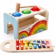 Emob Wooden Knocked the Ball Multifunctional Musical 8 Tones Xylophone Toy for Kids (Multicolor)