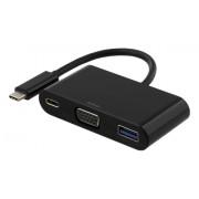 Deltaco USB-C till VGA och USB Typ A adapter, USB-C ho, 60W