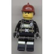 Lego Minifigure Fireman Reflective Stripes With Utility Belt, Dark Red Fire Helmet