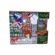 Winter Holiday Parade 500 Piece Limited Edition Keepsake Artist Series Puzzle With Matching Christmas Ornament Gift Set