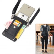 6.3 inch and Below Universal PU Leather Double Zipper Shoulder Carrying Bag with Card Slots & Wallet for Sony Huawei Meizu Lenovo ASUS Cubot Oneplus Dreami Oukitel Xiaomi Ulefone Letv DOOGEE Vkworld and other Smartphones (Black) -IP7P4382B