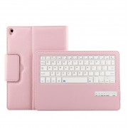 Detachable Bluetooth Keyboard + Litchi PU Leather Tablet Case for iPad Air 10.5 (2019) / Pro 10.5-inch (2017) - Pink