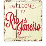 Placa Decorativa em MDF Ripado Welcome Reio de Janeiro