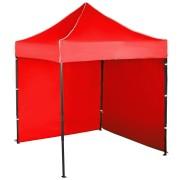 Gyorsan összecsukható sátor 2x2 m – acél, Piros, 2 oldalfal