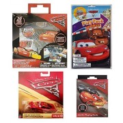 Disney Pixar Cars Stocking Stuffer Starter Gift set of 4 Items: Rust-Eze Racing Center Lightning MCQueen Die-Cast Car, Jumbo Playing Cards, Repositional Sticker Kit, and Grab and Go Play Pack