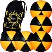 Flames N Games ASTRIX UV Thud Juggling Balls set of 5 (BLACK/ORANGE) Pro 6 Panel Leather Juggling Ball Set & Travel Bag!