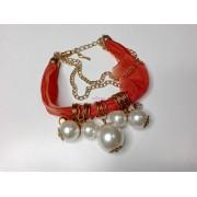Bratara material textil cu perle
