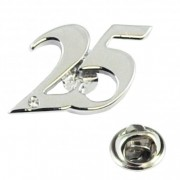 Number 25, 25th Silver Wedding Anniversary Lapel Pin Badge with Crystal - Rhodium Plated